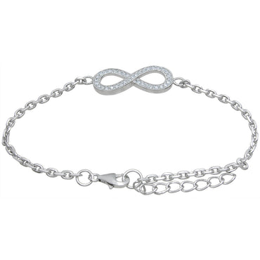 High Polish Sterling Silver Round-cut Cubic Zirconia Infinity Bracelet - White
