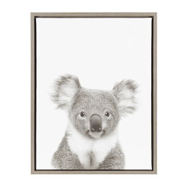 Kate and Laurel Sylvie Koala Black and White Portrait Grey Framed Canvas Wall Art by Simon Te Tai
