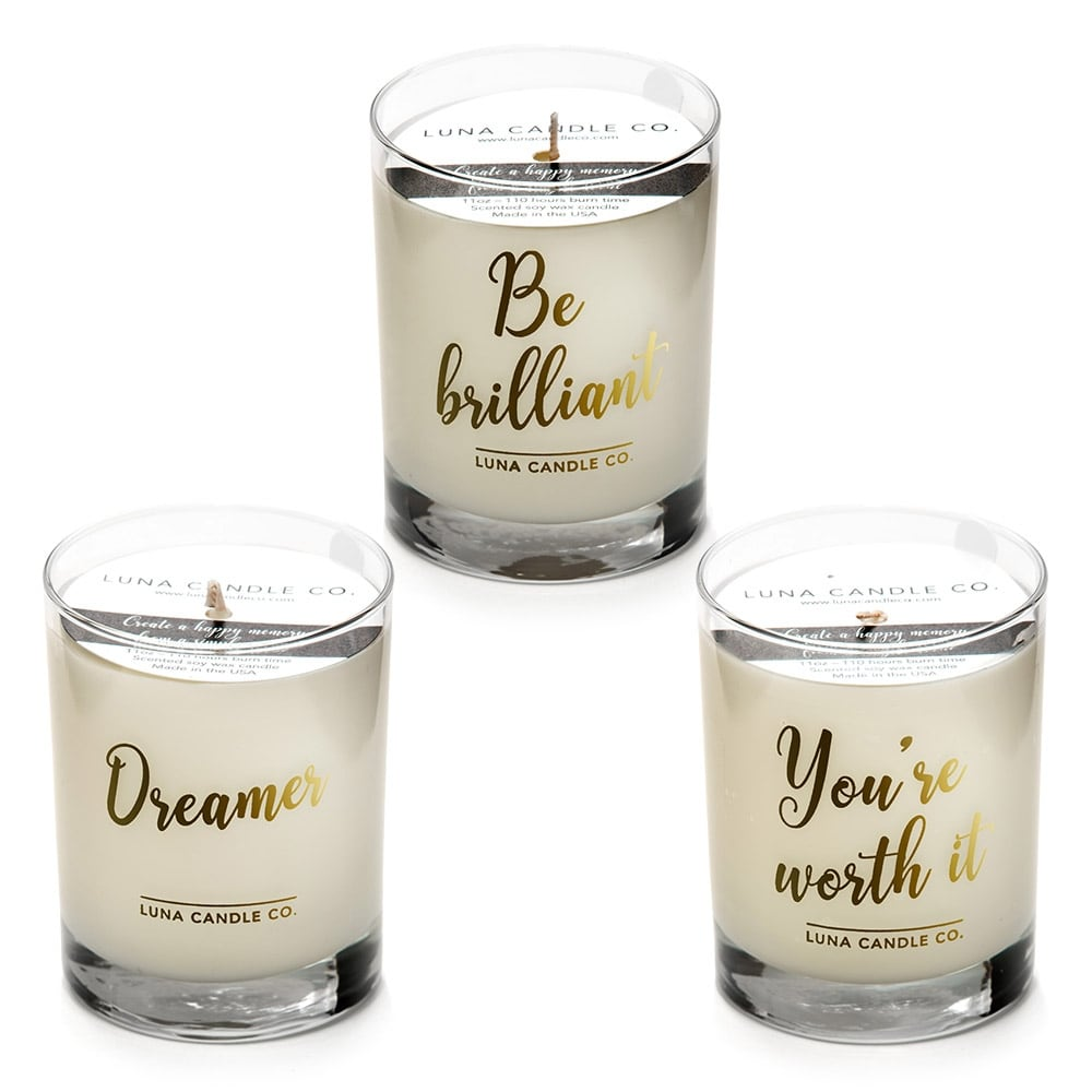 Luna Candle Co., Inspire -Lemon, Lavender, Eucalyptus Scented Luxurious Candles - 11 Oz (3 candle set) - 330 Hrs Burn Time