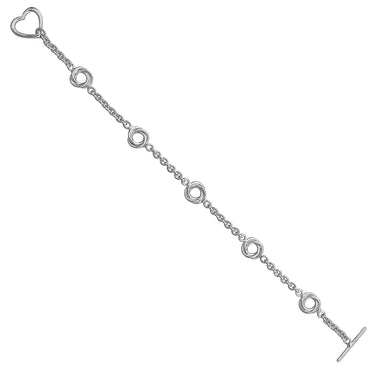 Decadence Sterling Silver Love Knot Link with Heart Toggle Bracelet
