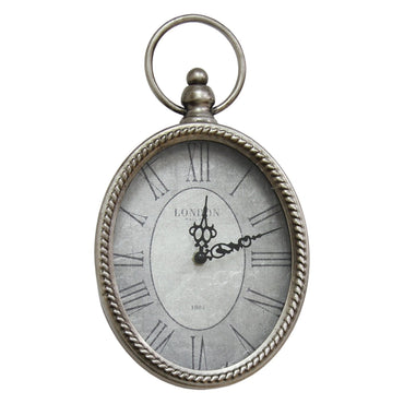 Stratton Home Decor Antique Silver Oval Wall Clock
