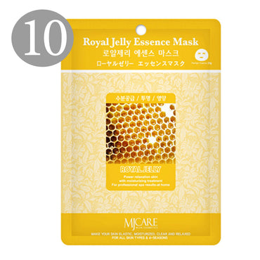 The Elixir Beauty Nature Premium Essence Facial Mask Pack Sheet 23g, Royal Jelly Mask Sheet Korean Cosmetic (10 Packs)