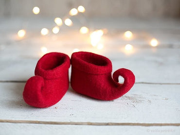 Newborn elf booties Felted unisex fairy baby's first Christmas shoes photo props