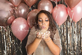 ROSE GOLD Balloon Bouquet - One Rose Gold Metallic Orbz Balloon plus 6 Custom Colored Rose Gold Latex Balloons - Metallic Rose Gold Balloons