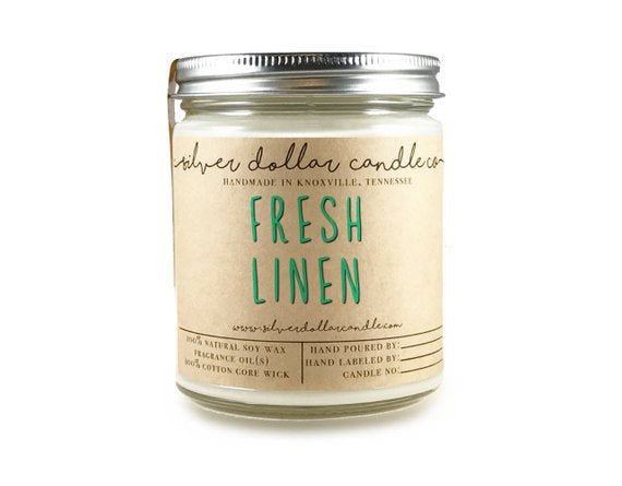 Fresh Linen Candle - Gift Idea - 8oz - Soy Candle - Scented Candles - Soy wax - Girlfriend gift, Handmade Candle, Linen Candle, Hand poured