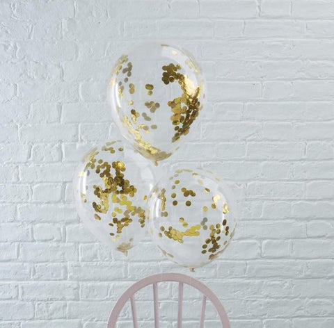 5 Gold Confetti Balloons, Clear Balloons, Gold Baby Shower, Hen Party Balloons, Gold Wedding Decor, Girl, Boy, Birthday Party Balloons