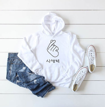 Korean Finger Heart Hoodie, K-Pop Hooded Sweatshirt, K-Drama Hoodie, Korean Sweatshirt, Seoul South Korea Hoodie, Korean Fashion Hoodie