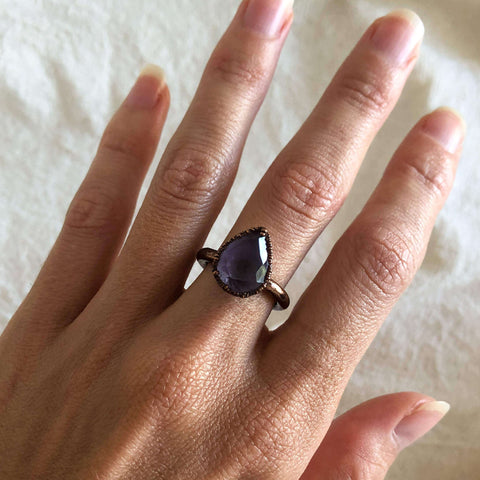 Amethyst Pear Cut Crystal & Copper Ring