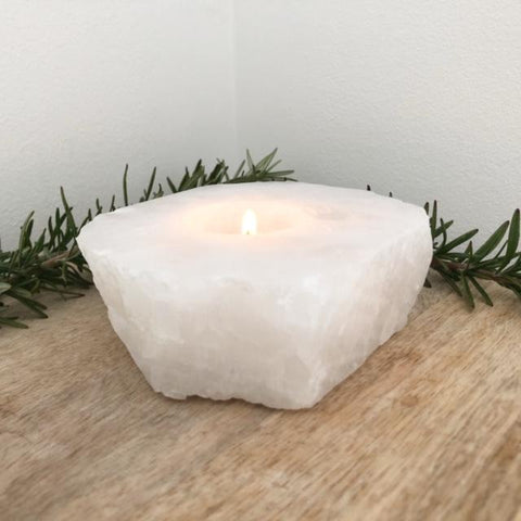Clear Quartz Crystal Tea Light Candle Holder