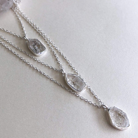 Herkimer Diamond 3 Layered Charm Necklace