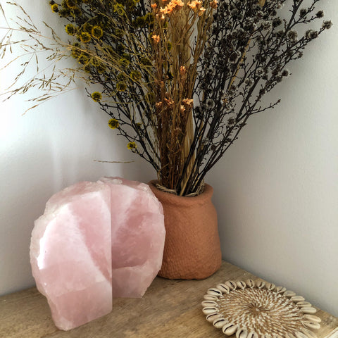 Rose Quartz Crystal Book Ends A Grade Stone