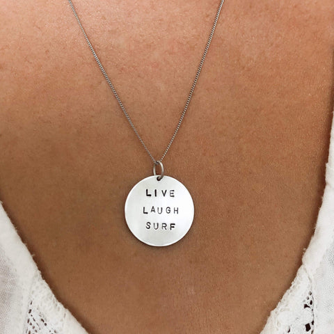 Live Laugh Surf Large Silver Coin Necklace-Sahara Blue Co.