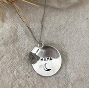MAMA Silver Large Domed Coin Necklace-Sahara Blue Co.
