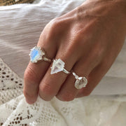 Moonstone Shield Cut Silver Ring-Sahara Blue Co.