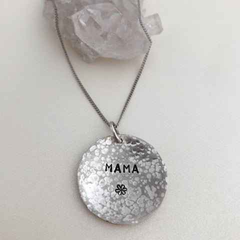 Personalised Large Hammered  Domed Coin Necklace