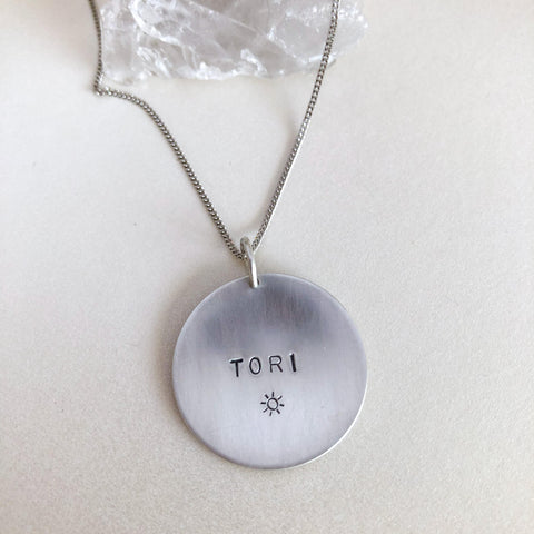 Personalised Silver Large Coin Necklace-Sahara Blue Co.