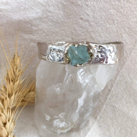 Connect to Your Soul Solid  Fluorite Crystal Cuff Bangle 925 Sterling Silver