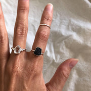 Raw Black Tourmaline Sterling Silver Simple Ring-Sahara Blue Co.