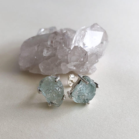 Raw Aquamarine Silver Studs Earrings-Sahara Blue Co.