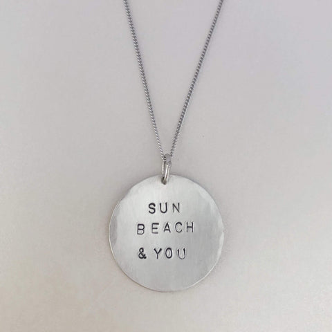 Sun Beach & You 925 Sterling Silver Hammered Domed Coin Necklace