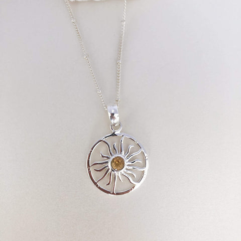 Citrine Sun & Moon Pendant with Dainty Bobble Chain in Sterling Silver