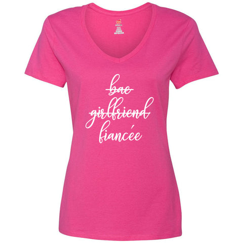 Bae Girlfriend Fiancee Funny Bride Bachelorette Women's V-Neck T-Shirt