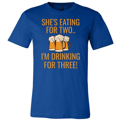 She's Eating For Two, I'm Drinking for Three Unisex Short Sleeve Jersey Tee