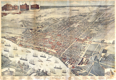 Bird's Eye View of Savannah, 1891