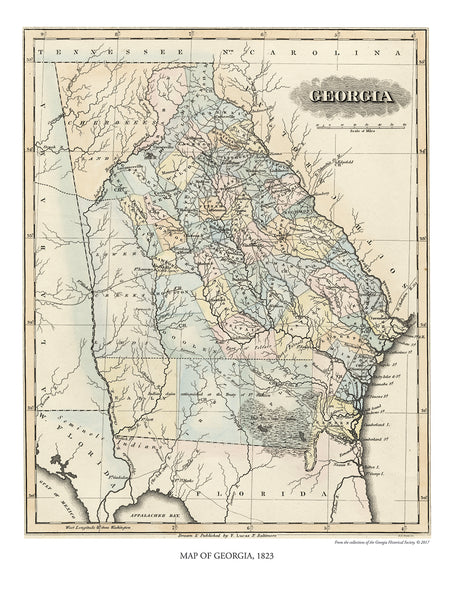 Map of Georgia, 1823