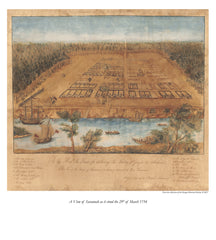 """A View of Savannah as it stood the 29th of March 1734"""