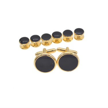 Classic Onyx and Gold Tux Studs & Cufflinks