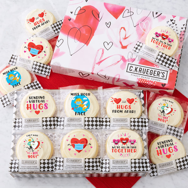 Valentine 2021 Watercolor Hearts Slide Gift Box - Iced Messages