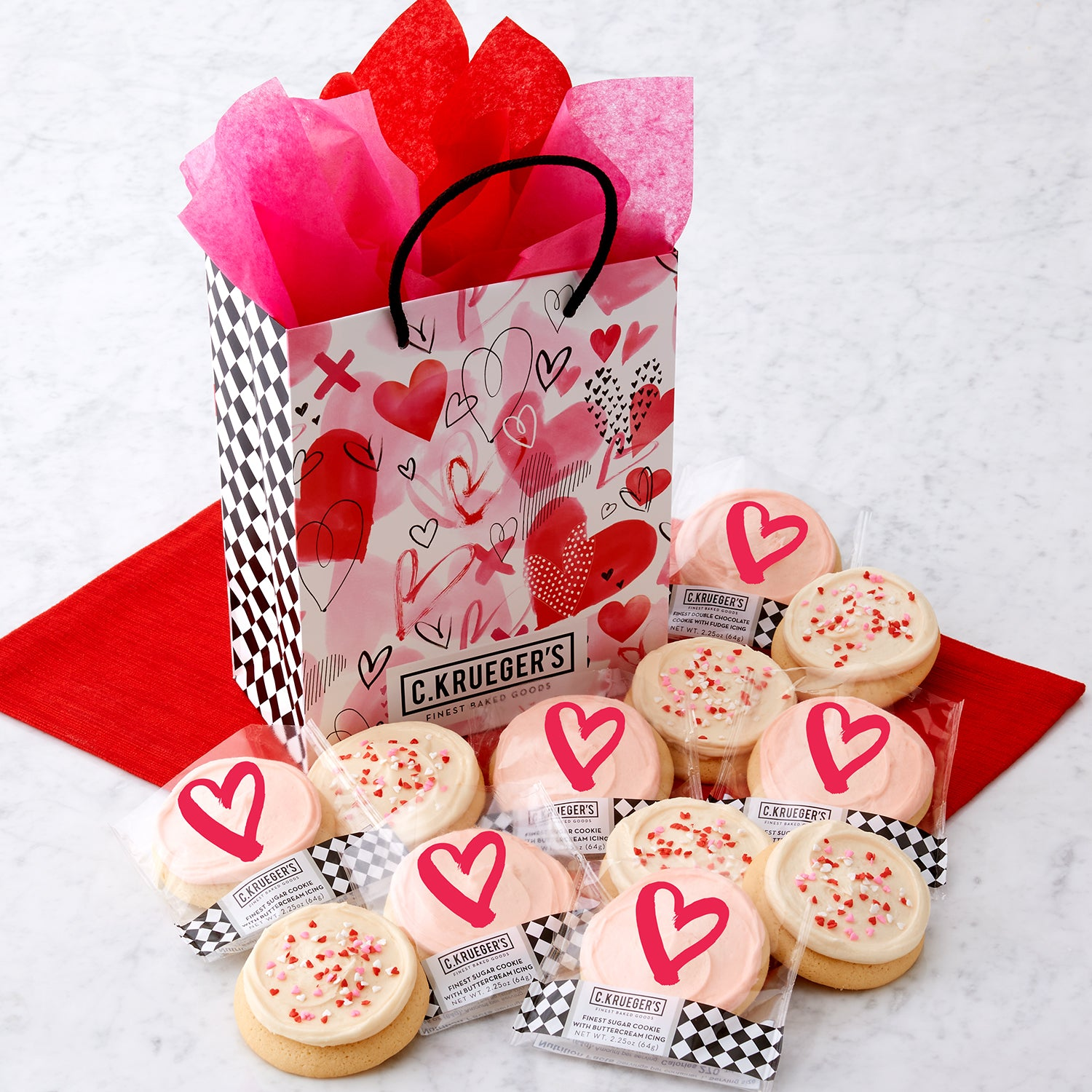 Watercolor Hearts Gift Bag - Buttercream Iced Sugar Cookies
