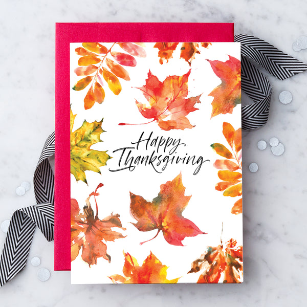 Happy Thanksgiving Leaves Greeting Card