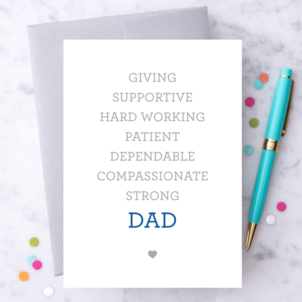 Giving Supportive Hard Working Dad Greeting Card