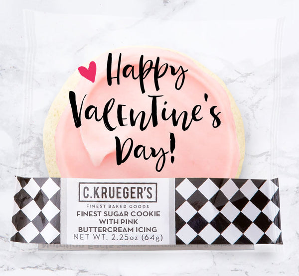 Finest Sugar Cookie with Pink Buttercream Icing & Happy Valentine Message