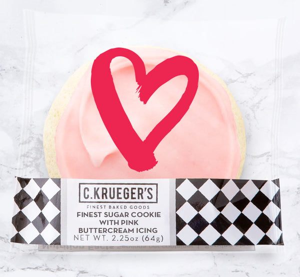 Finest Sugar Cookie with Pink Buttercream Icing & Heart Wrapper