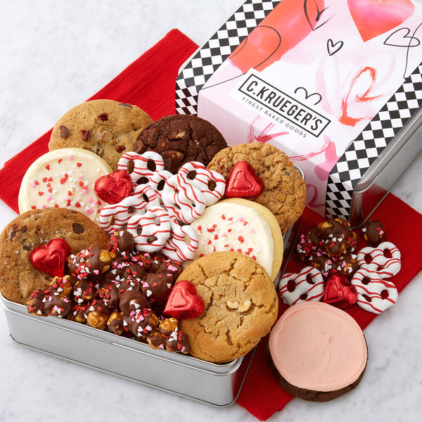 Watercolor Hearts Gift Tin - Cookies & Snacks