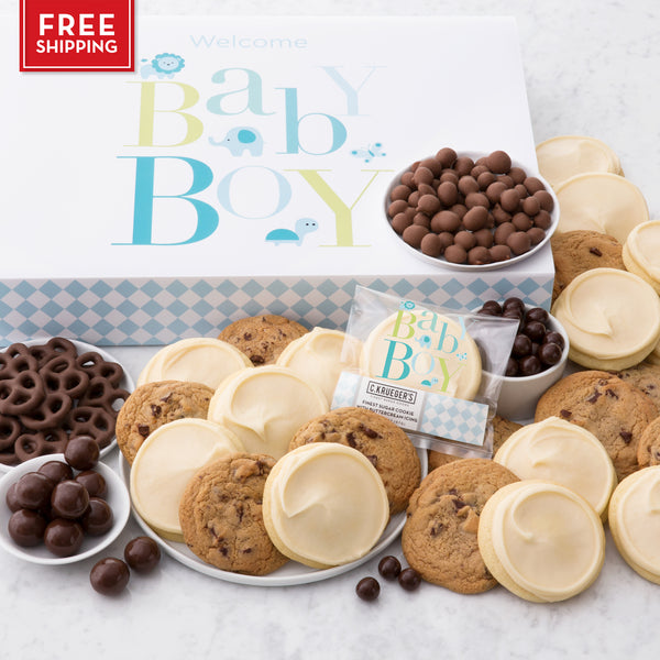 Baby Boy Slide Gift Box - Cookies & Snacks