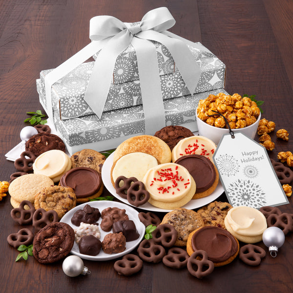 Silver Snowflake Cookies & Snacks Stack