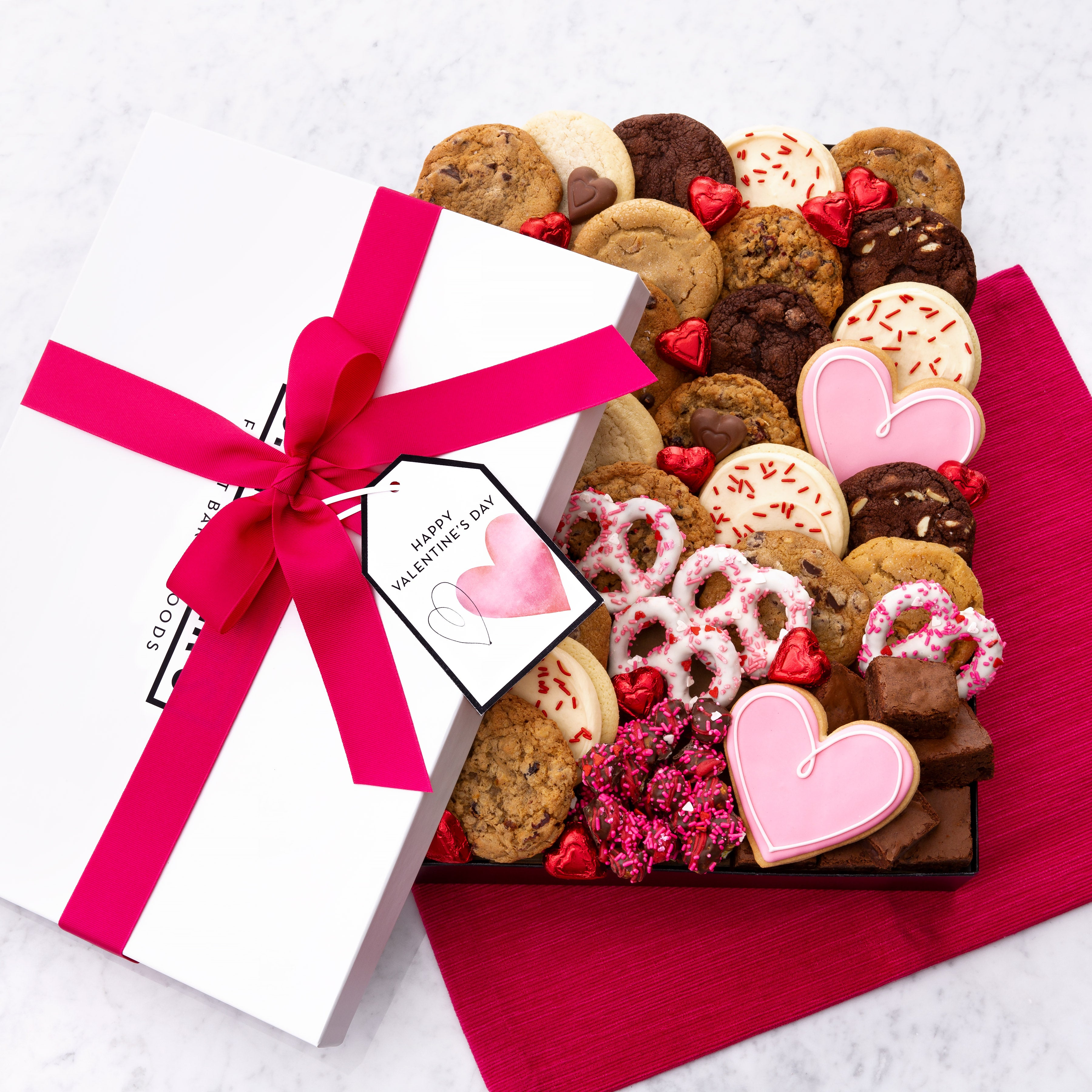 Valentine Watercolor Hearts Luxe Gift Box - Cookies & Snacks