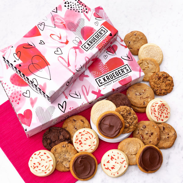 Valentine Watercolor Hearts Slide Gift Box - Each & Every Cookie