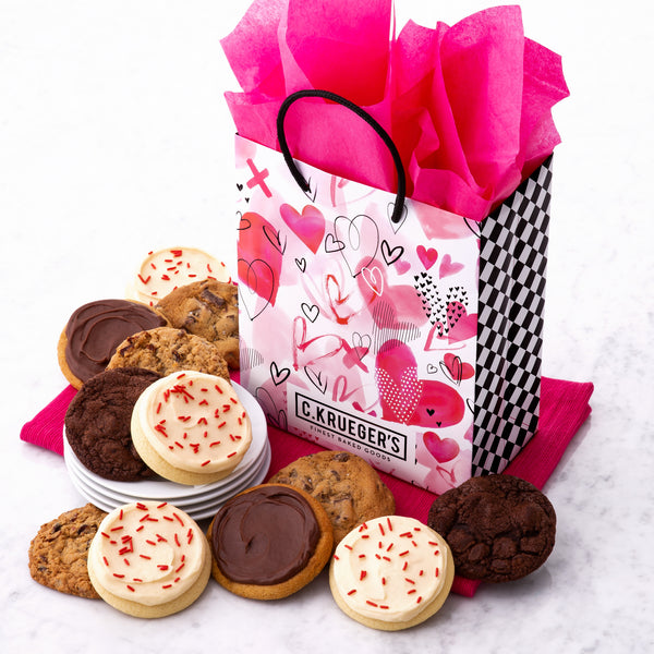 Valentine Watercolor Hearts Gift Bag - Select Your Cookies