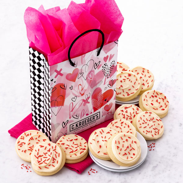 Valentine Watercolor Hearts Gift Bag - Buttercream Iced Sugar Cookies