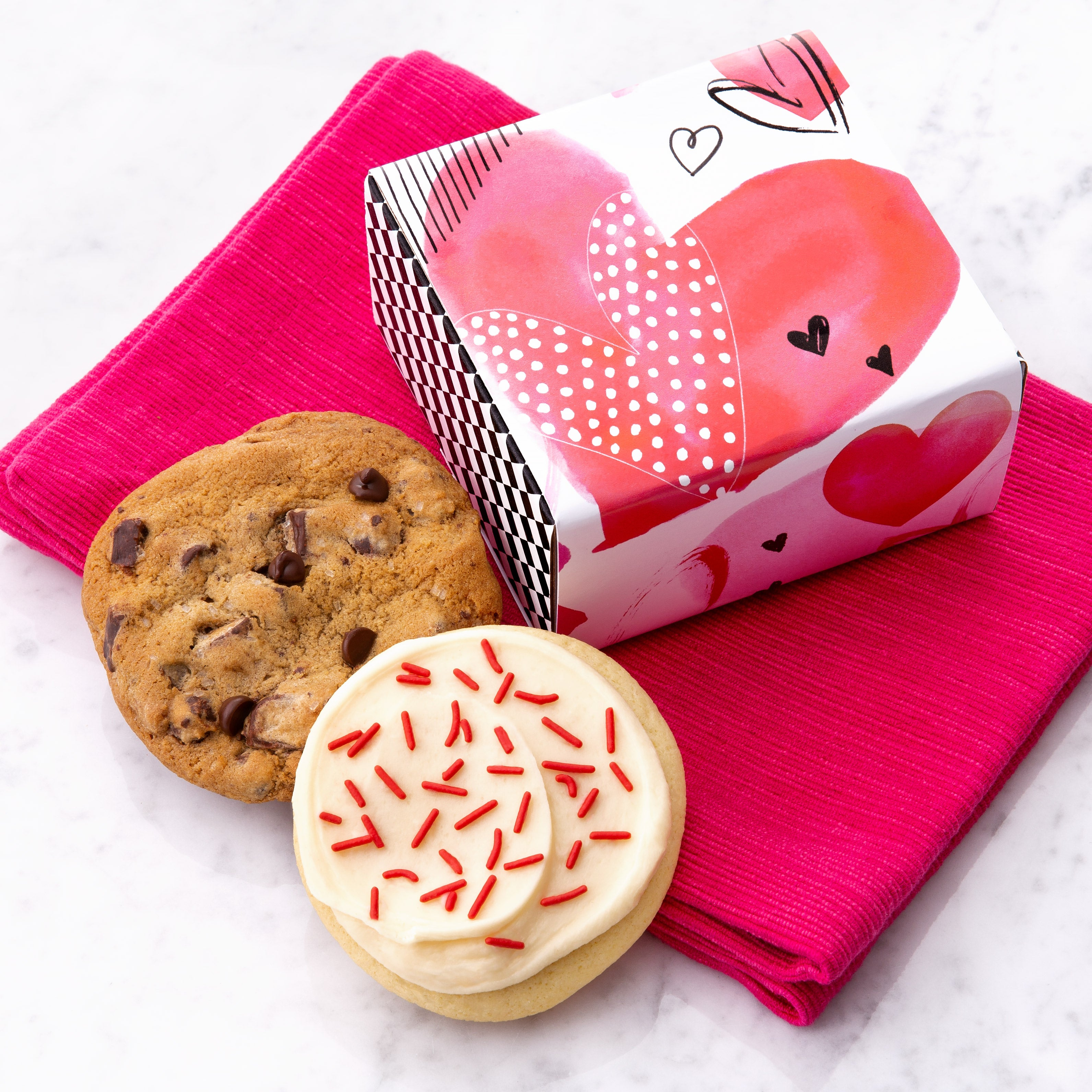 Cookies Are Best When Shared in a Valentine Watercolor Hearts Box $5