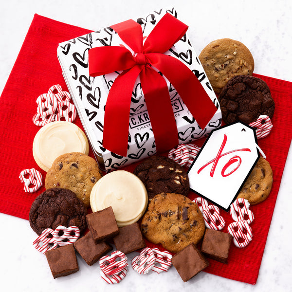 XO Hearts Gift Stack - Cookies & Snacks