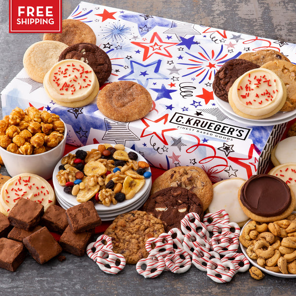 Patriotic Slide Gift Box - Cookies & Snacks