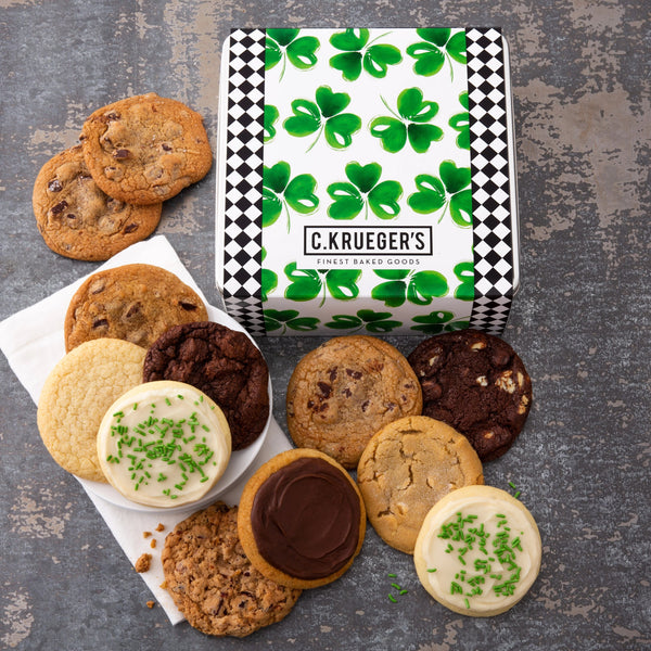 St. Patrick's Day Shamrock Gift Tin - Select Your Cookies