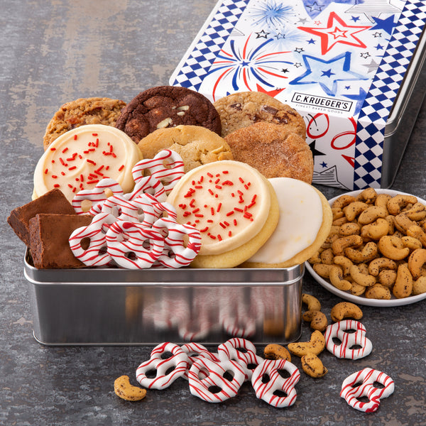 Patriotic Gift Tin - Cookies & Snacks