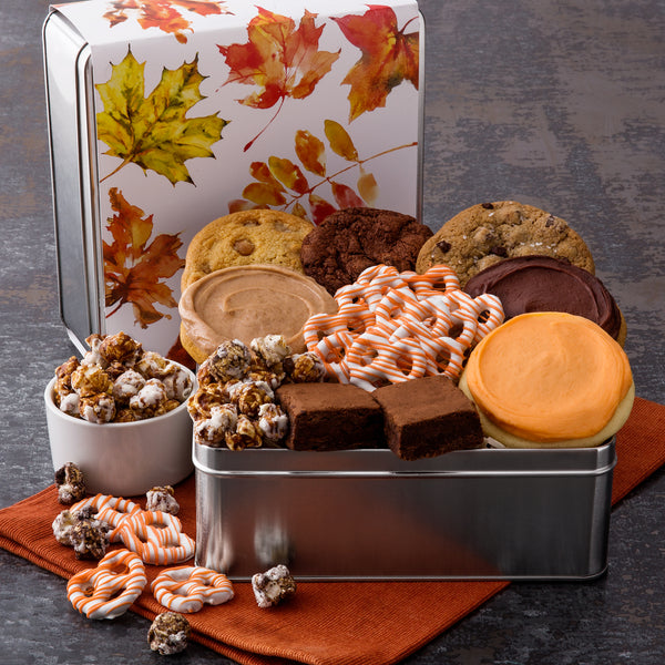 Fall Leaves Gift Tin - Cookies & Snacks